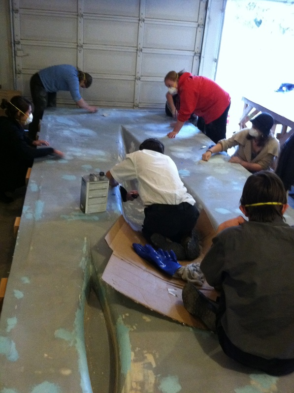 Team Sanding down the Forms